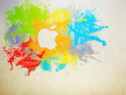 apple logo with oil paints 766