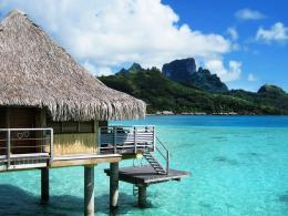Bora Bora bungalow resort on the beach wallpaperBeach Wallpapers 1735