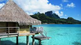 Bora Bora bungalow resort on the beach wallpaperBeach Wallpapers 1453