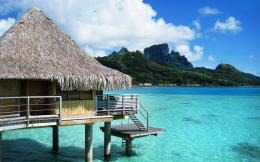 Bora Bora bungalow resort on the beach wallpaperBeach Wallpapers 337