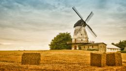 Lovely Windmill By A Hay Field Hd Desktop Background HD wallpapers 960