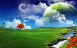 Download Green planet over windmill wallpaper 215