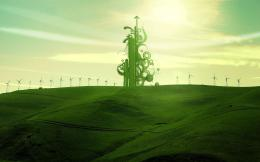 Green swirls on the windmill field Wallpaper #3195 436
