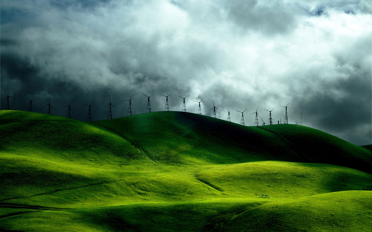Windmill on the green pastures of high definition digital synthesis of 1152