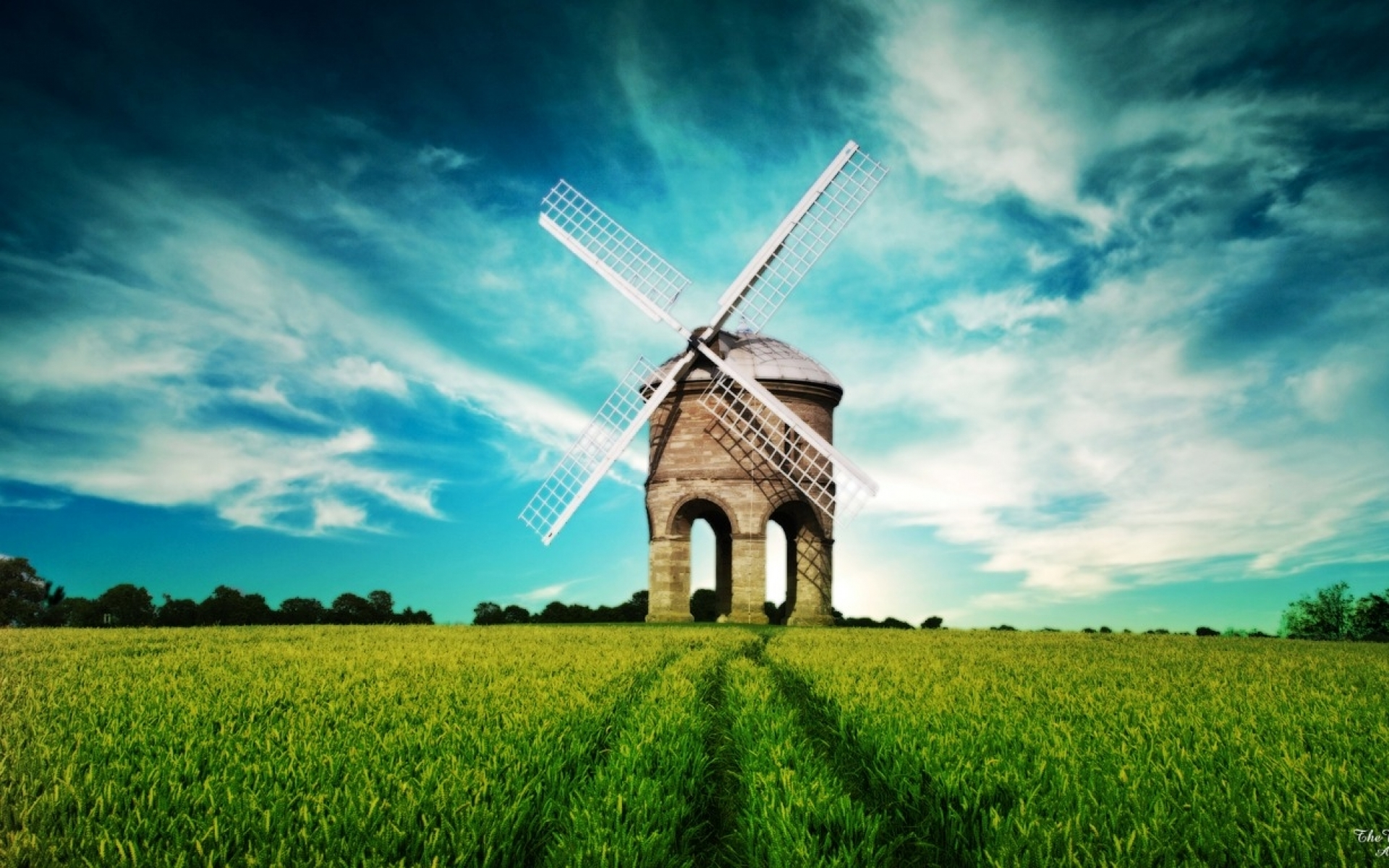 Windmill Sky & Grass Field wallpapers | Windmill Sky & Grass Field 371