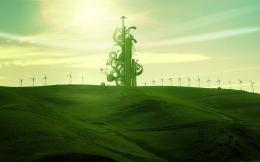Green Design Fields Shapes Windmills HD Wallpapers | Epic Desktop 1646
