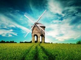 Windmill in pasture HDR wallpaper 204