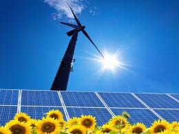 Wind and solar power put together is clean and sustainable energy 949