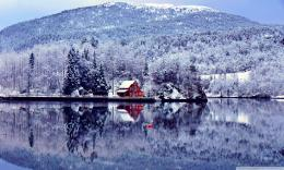 Download Winter Wallpaper Forest Lake View House to your PCSearch 901