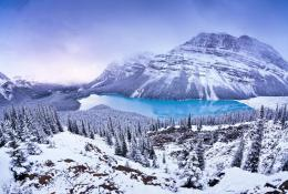 Winter wonder lake mountain trees snow blue wallpaper 804