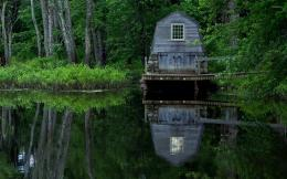 Wooden boat garage on the lake wallpaperWorld wallpapers#51567 281