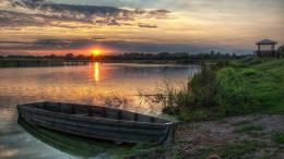 Old Wooden Boat On Lakeshore Sunset Hdr hd wallpaper #1787808 493