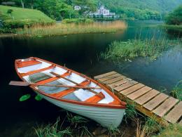 View Kylemore Abbey Wooden Boat Connemara County Galway Ireland in 1007