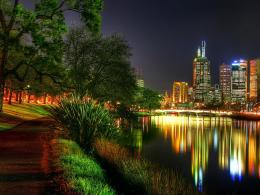 wallpapers The view of Melbourne at night from the banks of the Yarra 1310