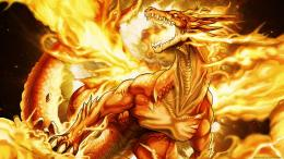 Free WallpapersDragon in yellow fire 1366x768 wallpaper 696