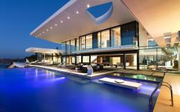 Download Modern house with a pool wallpaper 1862