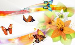 Vector Butterflies collage wallpaper in 3DAbstract wallpapers 531