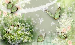 Valley Of Butterflies collage wallpaper in 3DAbstract wallpapers 1932