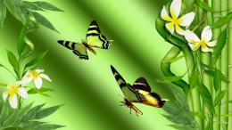 Bamboo butterflies collage wallpaper 1175
