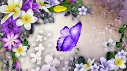 Purple butterfly and flowers collage wallpaper in Other wallpapers 417