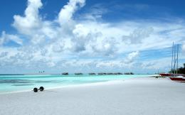 Wallpaper tropics, blue, ocean, sand, beach, clouds, white, Maldives 1048