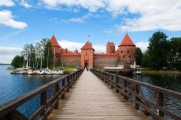 In Trakai Castle Across The Lake Galve In LithuaniaBridge In Trakai 513