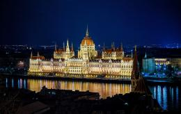 MadeHungarian Parliament Building Night Budapest Hungary Wallpaper 1925
