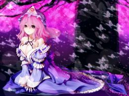 1600x1200 video games touhou cherry blossoms trees dress butterfly 1559