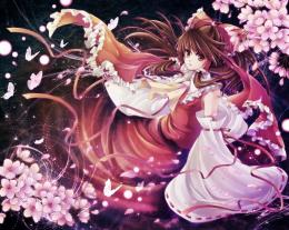 brunettes touhou cherry blossoms butterfly long hair brown eyes miko 471