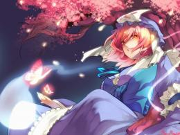 touhou cherry blossoms butterfly ghosts pink hair short hair pink eyes 975