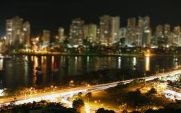 Tilt Shift City Night Light Road Wallpaper 1056