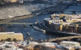 city, ship, bridge, river, tilt shift desktop wallpaper » World 1516