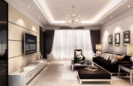 room rendering with TV wall sofa and Crystal Light | Download 3D House 1977