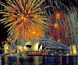 fireworks over the sydney opera house and sydney harbour bridge 927