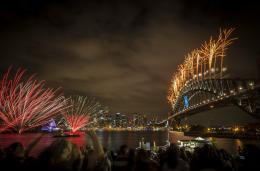 New Year's Eve fireworks over Sydney Harbour Bridge 1345