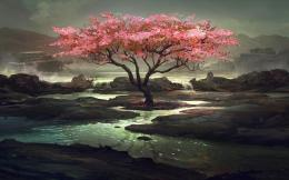 Download Pink tree painting wallpaper in Nature wallpapers with all 645