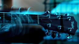 Wallpaper 2048x1152 guitar, strings, neck, movement HD HD Background 1242