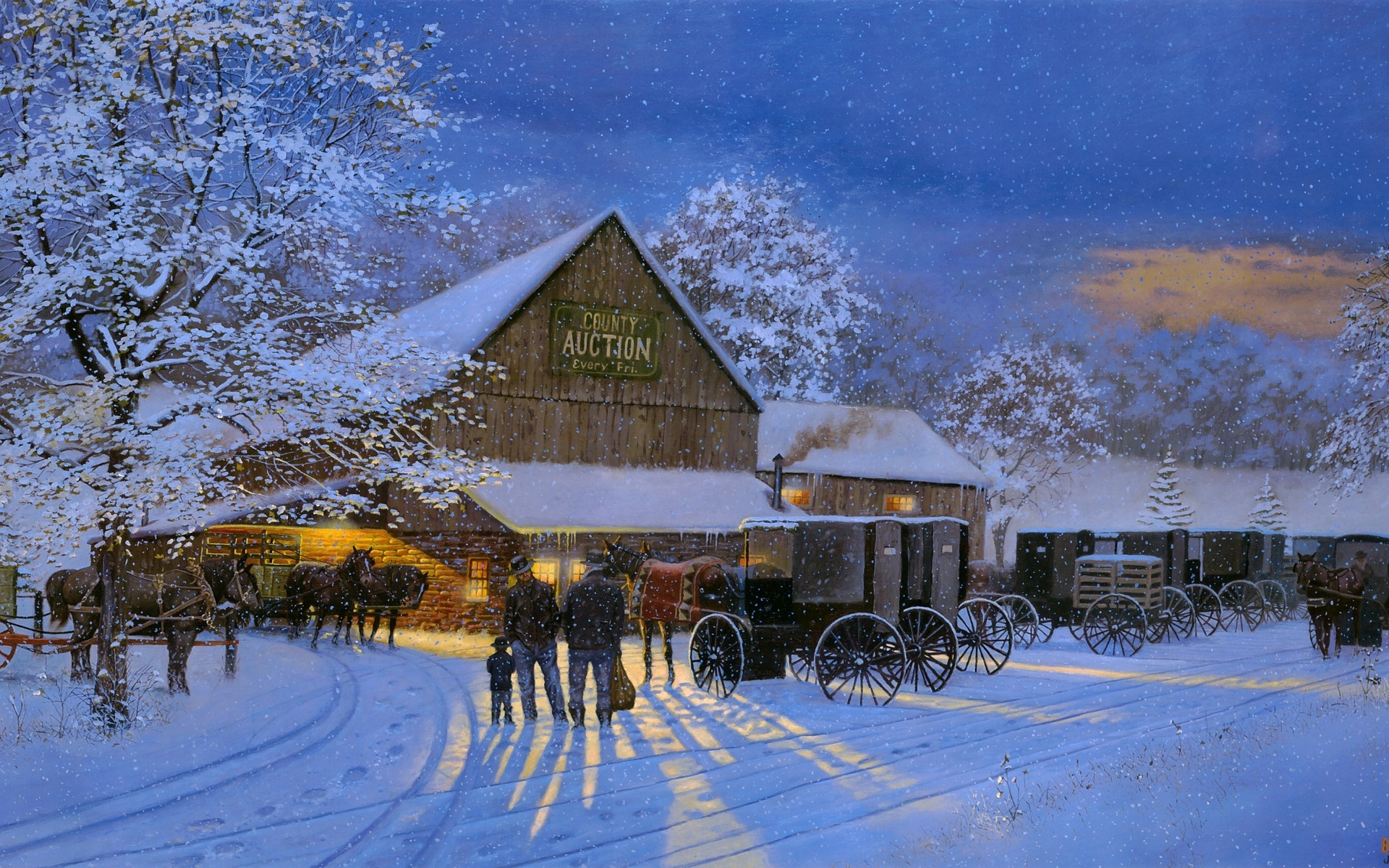 Horses Dave barnhouse painting winter wallpaper | 1920x1200 | 70060 1655