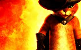 Puss in Boots red hat fire cat cats fantasy movies wallpaper 806