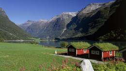 Lakeside Homes Oldenvatnet Norway wallpaper 1681