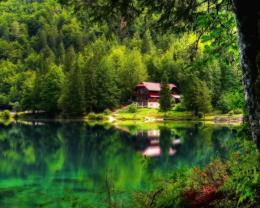 Download House on the lake paradise HDR wallpaper in Nature wallpapers 1946