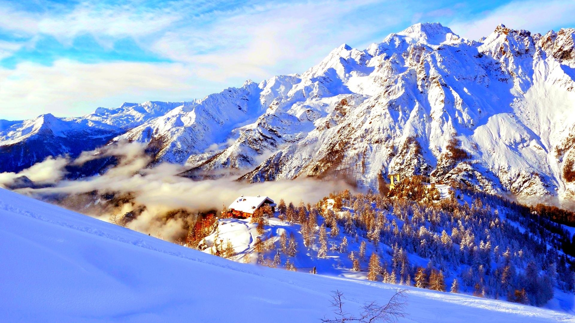 Lonely house at snow mountain valley wallpaper in Nature wallpapers 558