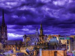 Purple City Rooftops Hdr Hd Wallpaper | Wallpaper List 912