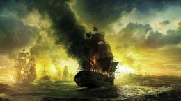 art ocean sea ships galleon fire war battles wallpaper background 338