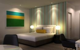 Modern bedroom designs with green stripes wallpaper picture modern 1189
