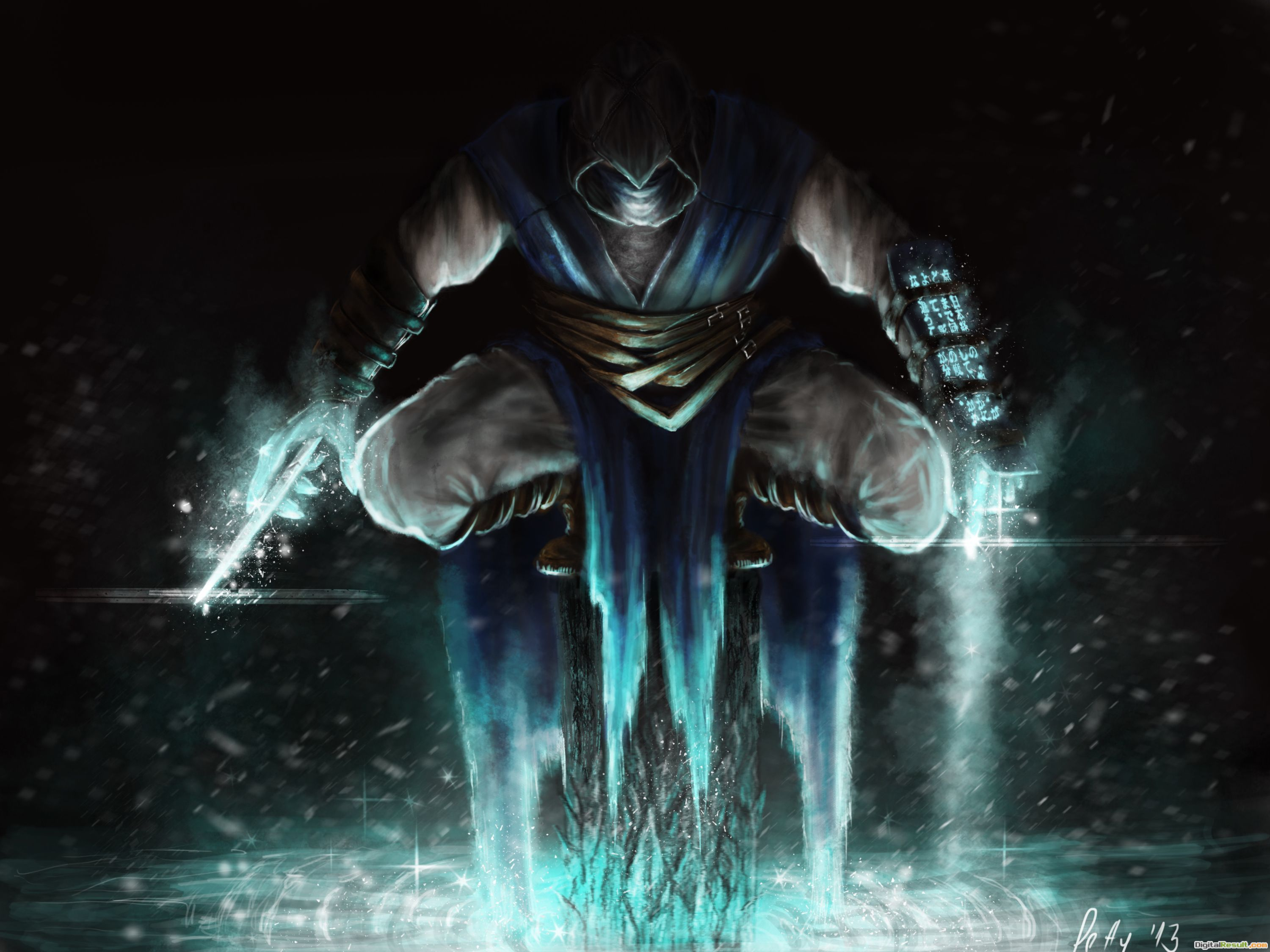 Mortal kombat, sub zero, art, play, sitting, ice, cold wallpapers 1624