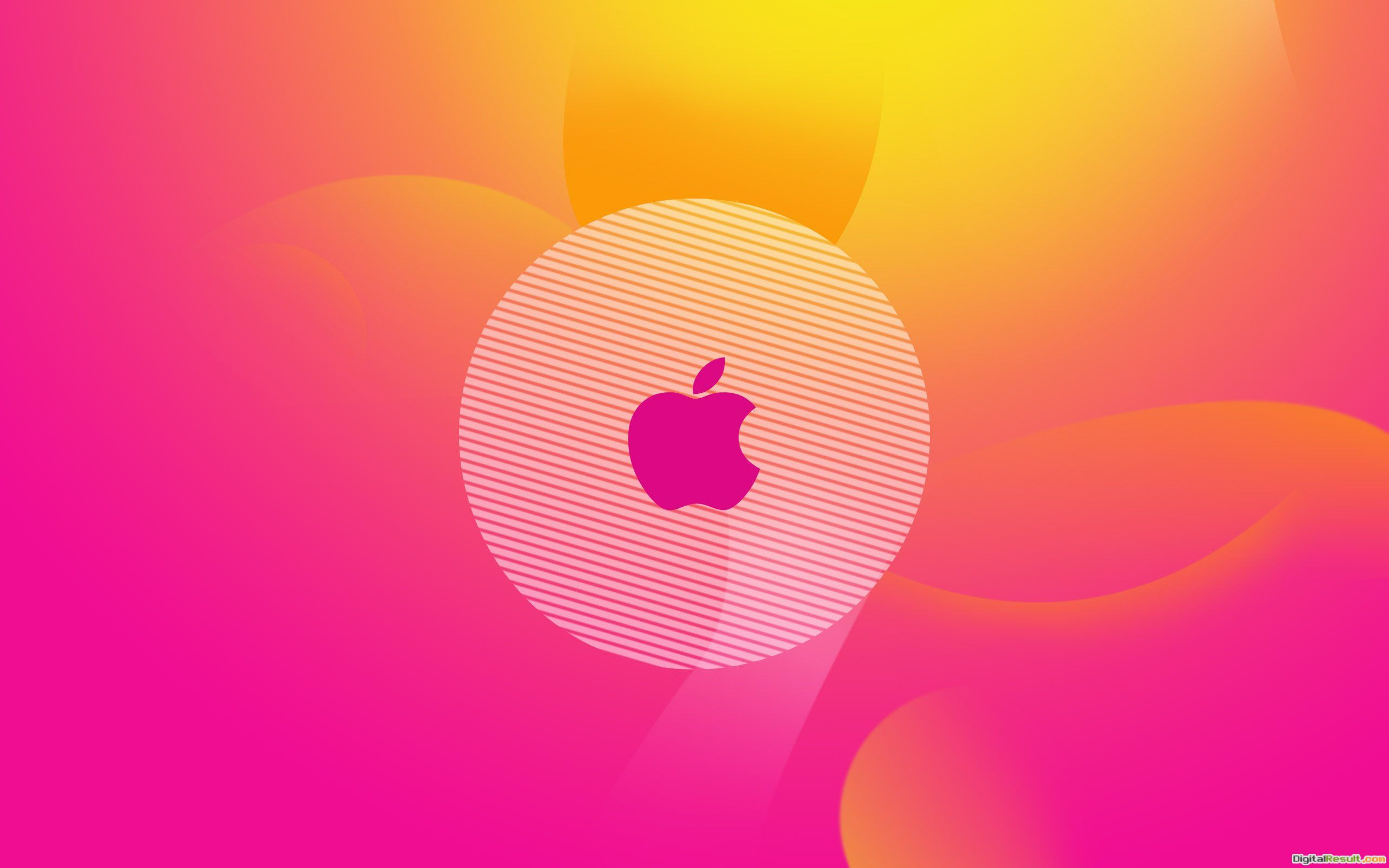 Cool image of the apple logo, picture of the orange background, pink 834