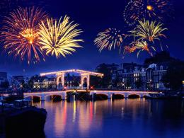Town holiday fireworks salute river night 1600x1200 1889