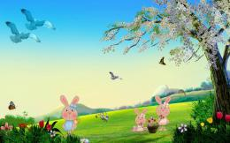 Easter bunnies in the meadow wallpaperHoliday wallpapers#12385 671