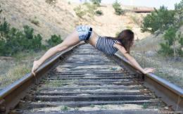 Girl On Railway TrackWallpaper 486